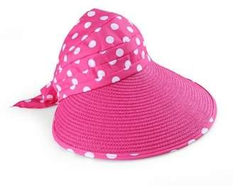 AERUSI Women's and Girl's Polka Dot Straw Visor Wide Brim Hat