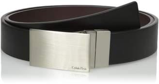 Calvin Klein Men's Round Edge Plaque Buckle 32mm Reversible Belt
