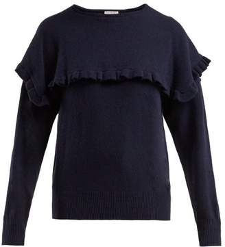 See By Chloé - Ruffled Bib Alpaca Blend Sweater - Womens - Navy