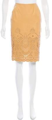 Oscar de la Renta Embellished Leather Skirt