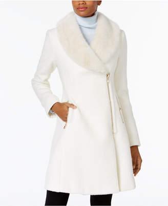 INC International Concepts I.n.c. Faux-Fur-Trim Asymmetrical Walker Coat, Created for Macy's