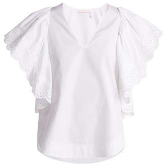 See by Chloe Ruffle Sleeved Cotton Poplin Blouse - Womens - White