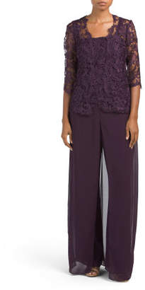 Lace Capelet Pant Suit