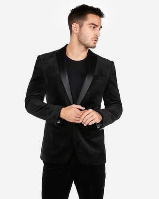 Express Slim Black Velvet Tuxedo Jacket