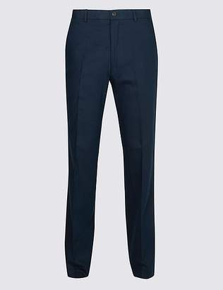 Marks and Spencer Big & Tall Linen Blend Flat Front Trousers