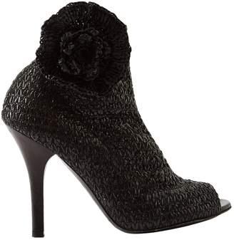 Dolce & Gabbana Black Wicker Boots