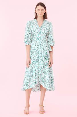 Rebecca Taylor Emerald Daisy Wrap Dress
