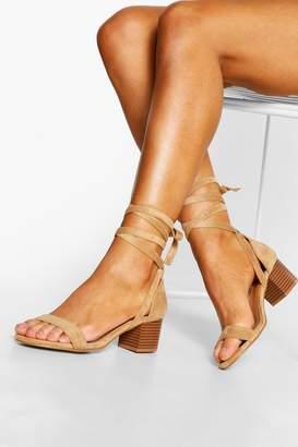 boohoo Wooden Low Block Heel Wrap Sandals