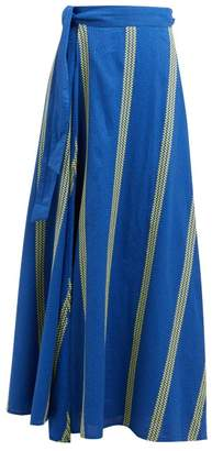 Ace&Jig Sangria Striped Cotton Maxi Wrap Skirt - Womens - Blue