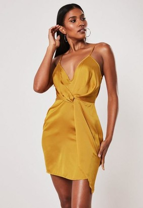 45a42a016141 Missguided Mustard Strappy Satin Shift Dress, Mustard