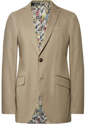 Etro Beige Slim-Fit Stretch-Cotton Suit Jacket