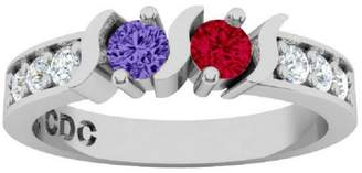 Nana S-Bar W/Sides Couples 2 stones Ring with His & Hers - Sterling Silver - Size 9