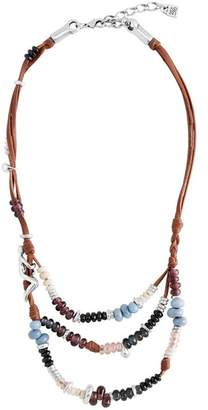 Uno de 50 Kaa Beaded Layered Leather Necklace