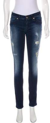 Just Cavalli Mid-Rise Leather-Trimmed Jeans