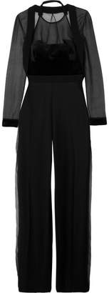 Antonio Berardi Wool-crepe, Velvet And Silk-organza Jumpsuit - Black