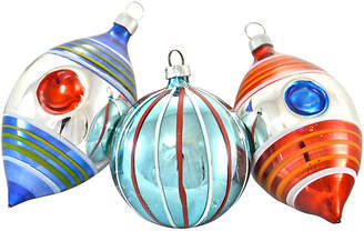One Kings Lane Vintage European Blown Glass Ornaments - Set of 3 - Design Line