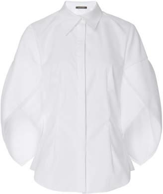 Zac Posen Button Down Cotton Shell Sleeve Shirt