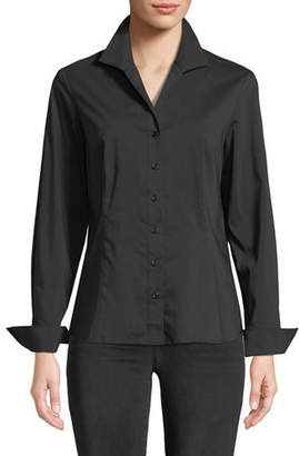 Finley Revere-Collar Poplin Shirt w/ French Cuffs