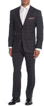 Perry Ellis Plaid Two Button Notch Lapel Slim Fit Suit