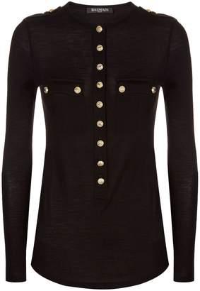 Balmain Wool-Cashmere Buttoned Top