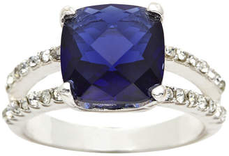 clear SPARKLE ALLURE city x city Silver-Plated Blue Glass & Cubic Zirconia 3-Stone Ring