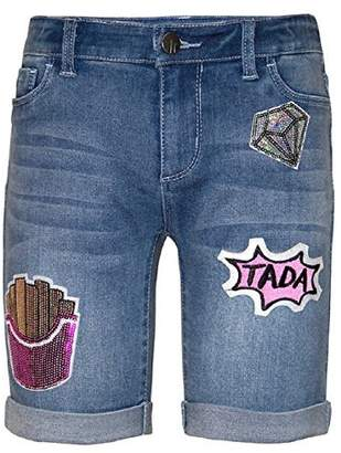 Tractr Big Girls' Sequined Patched Stretch Denim Bermuda Shorts (, medium wash)