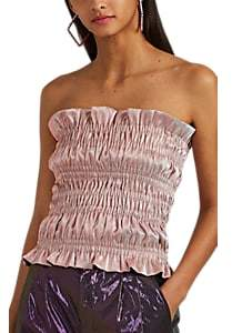 Area Women's Ruched Cotton-Blend Lamé Tube Top - Pink