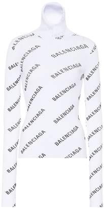 Balenciaga Logo-knit turtleneck sweater