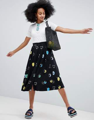 Monki All Over Face Print Midi Skirt