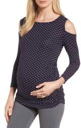 Isabella Oliver Jennifer Dot Cold Shoulder Maternity Top