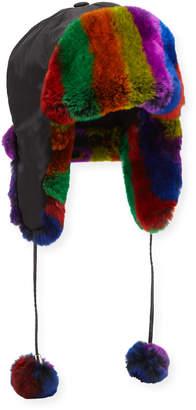 Adrienne Landau Rabbit Fur Striped Trapper Hat