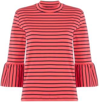 Maison Scotch Stripe long sleeve tee with flared sleeves