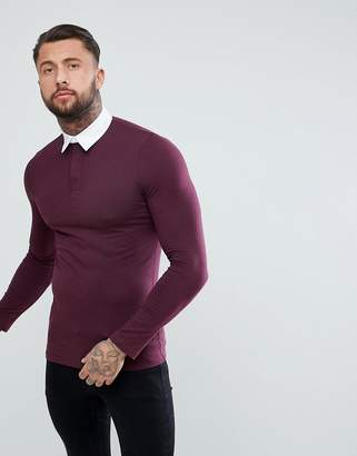 Asos DESIGN muscle fit rugby polo shirt with long sleeve in burgundy