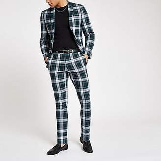 River Island Green plaid skinny fit suit pants