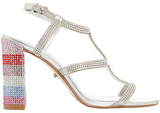Dune Marisole Diamante Encrusted Block Heel Sandals, Silver
