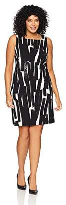 London Times Women's Plus Size Sleeveless Square Neck Shift Dress