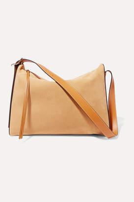 Loewe Berlingo Leather-trimmed Suede Shoulder Bag - Beige