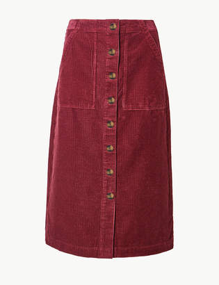 Marks and Spencer Pure Cotton Corduroy A-Line Midi Skirt