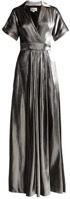 Temperley London Liquid Metal Wrap Dress - Womens - Silver