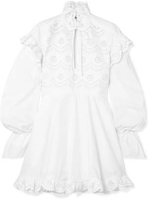 laser cut dresses shopstyle uk Carolina Herrera Ball Gowns philosophy di lorenzo serafini ruffled laser cut cotton poplin mini dress white