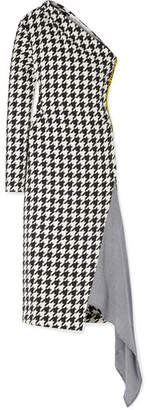 Off-White Asymmetric Houndstooth Wool-blend Dress - Black