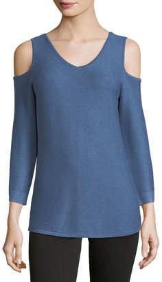 Neiman Marcus V-Neck Ottoman-Knit Sweater