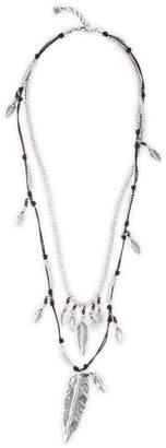 Uno de 50 Strut Silver and Leather Multi-Strand Necklace