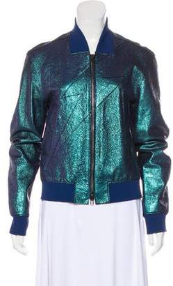 3.1 Phillip Lim Metallic Leather Varsity Jacket