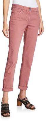 Brunello Cucinelli Mid-Rise Garment-Dyed Denim Jeans