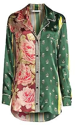 Oscar de la Renta Sleepwear Women's Spruce Floral Patchwork Silk Sleep Shirt