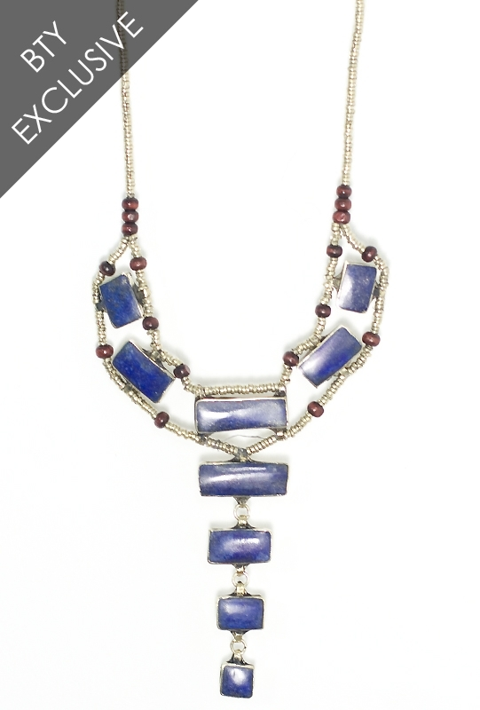 Natalie B Jewelry Sea of Blue Ladder Necklace