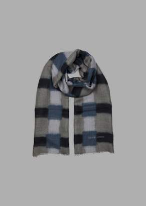 Giorgio Armani Modal Linen And Silk Stole With Blurred Checks