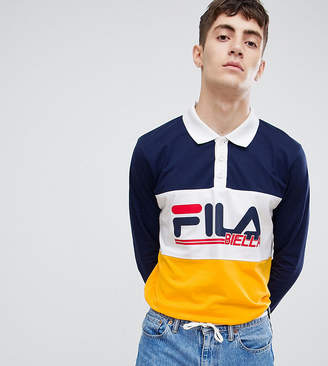 Fila Long Sleeve Rugby Polo Shirt With Retro Panel Logo In Navy