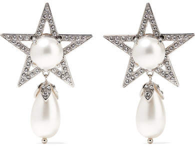 Miu Miu Miu Miu - Silver-plated, Swarovski Crystal And Faux Pearl Clip Earrings - one size